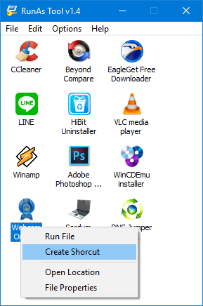 Runastool right click and create a shortcut