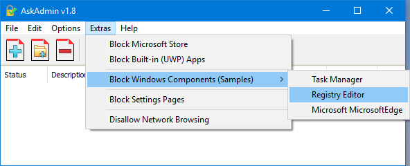 Block Windows components