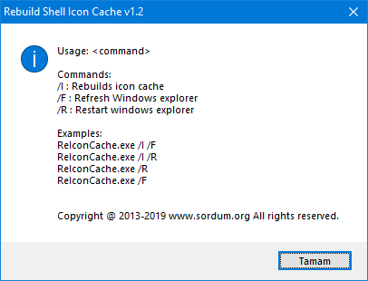 Rebuild shell icon cache cmd parameters