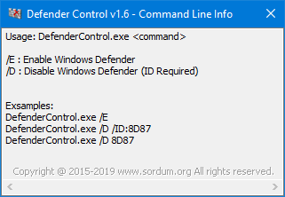 Defender control Cmd parameters
