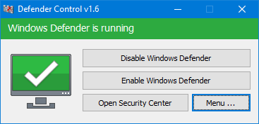 Windows defender is running