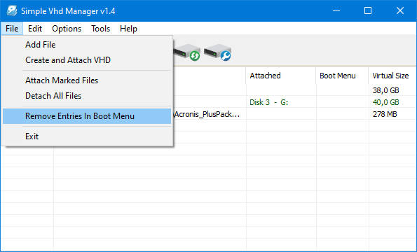 Remove all boot entries from boot menu