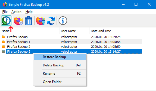 simple firefox backup restore feature
