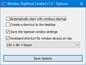 Topmost control options