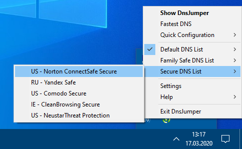 Changing Dns from tray menu