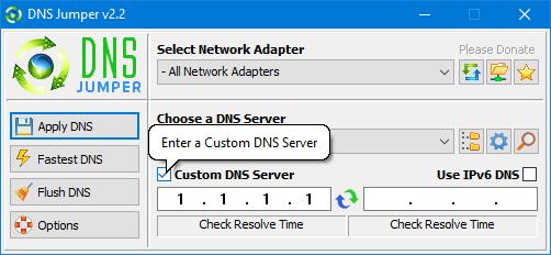 Dns Jumper add custom dns