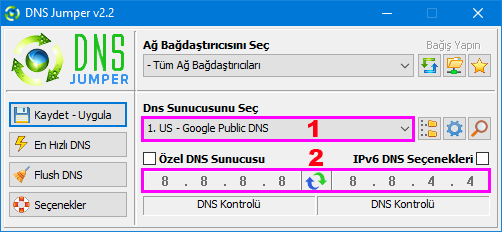 See current Dns on Dns jumper
