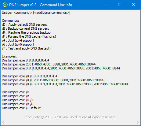 Dns jumpers cmd support parameters