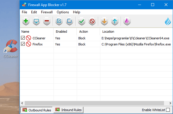 Firewall Application blocker drag and drop feature