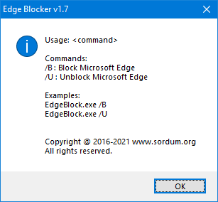 Edge blocker cmd parameters