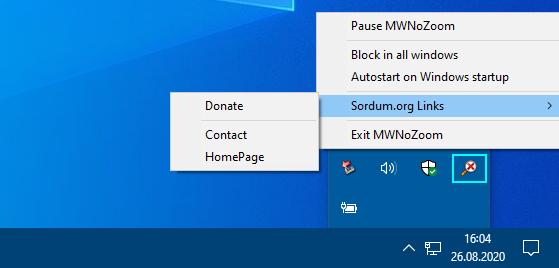 No mouse wheel zoom icon