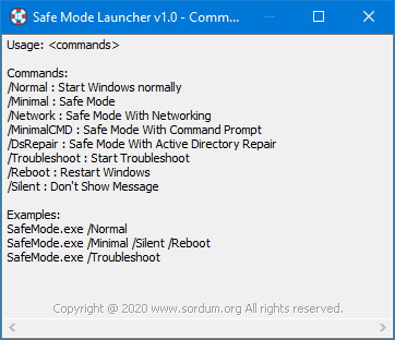 Safe Mode Launcher cmd parameters