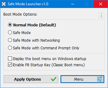 Safe Mode Launcher GUI