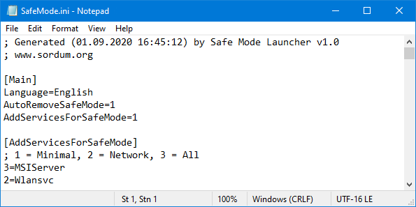 Safe Mode Launcher ini file