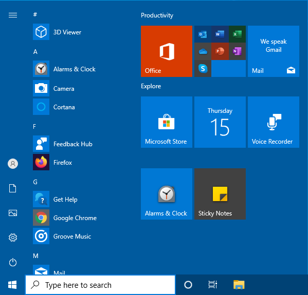 Default start menu layout