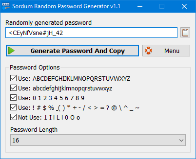 Sordum Random password generator