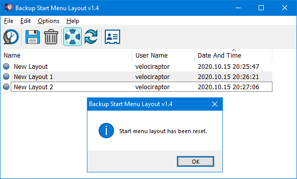 How to reset start menu layout