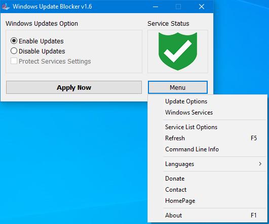 Windows Update Blocker main