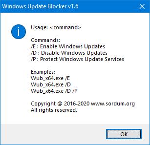 Windows update Blocker Cmd parameters