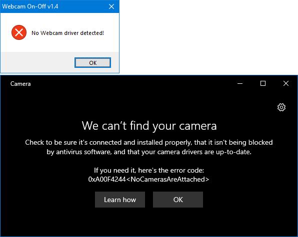 no webcam device error
