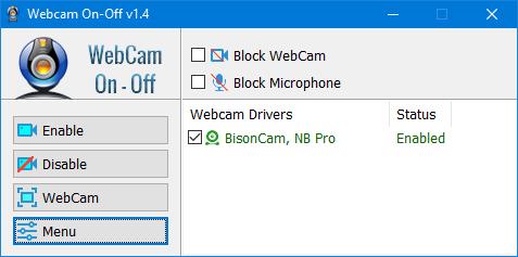 webcam on off enabled
