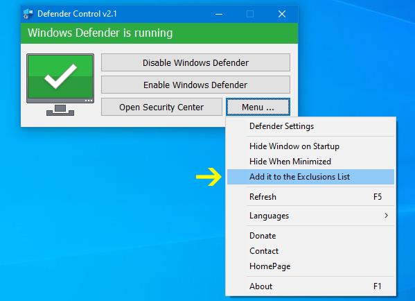 Defender control menu