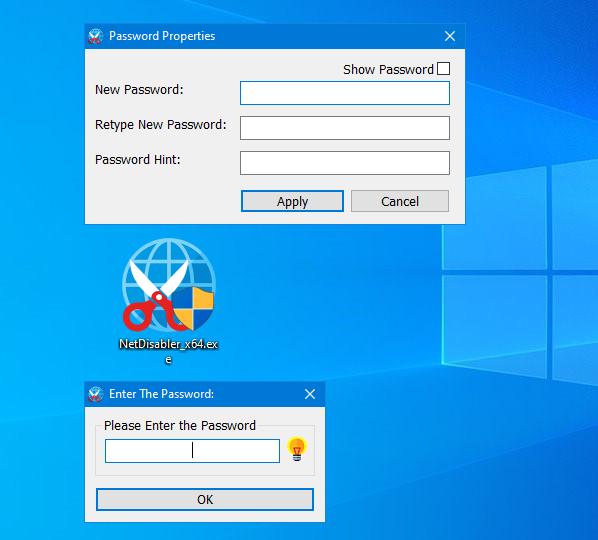 set a password for net disabler