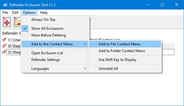 Defender exclusion tool context menu