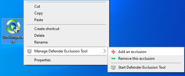 Defender exclusion tool right click menu
