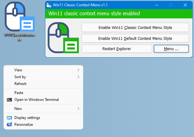 Get the Classic (old) Context Menu on Windows 11