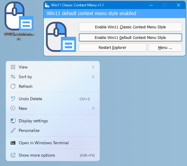 Get the Default Context Menu on Windows 11
