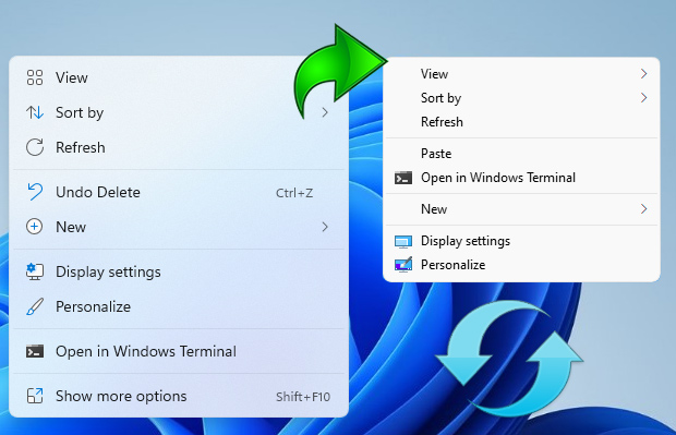 Windows 11 new and Old (Classic) context menu